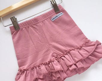 Mauve Ruffle Shortis, Mauve Ruffle Shorts -mauve knit ruffle shorties sizes 6m to girls 10 - Free Shipping