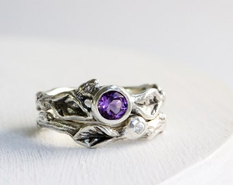 Amethyst White Sapphire Engagement Ring Set, Silver Twig Rings,Amethyst Nature Ring,Leaf Ring