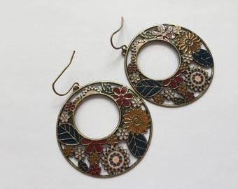Vintage boho chic bohemian hoop earrings gypsie hippie style