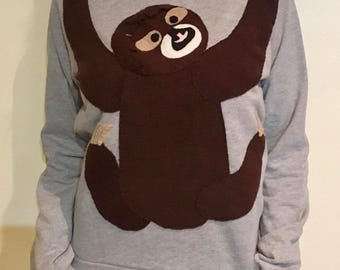 Sloth Plush Application on a unisex Crewneck Sweatshirt - SMALL