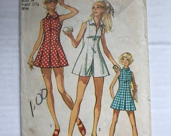 Vintage 1971 Simplicity 9406 Sewing Pattern / 70s Tennis Dress Pattern Size 13 Bust 34