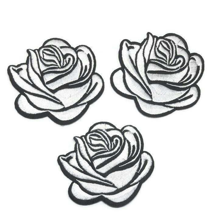 Pcs black white rose tattoo embroidered applique