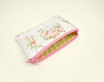 change purse coin purse zipper pouch zipper bag floral change purse flower coin purse pink blue flowers white