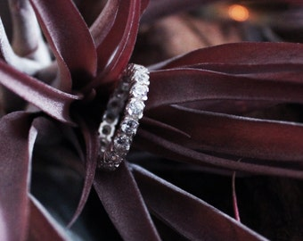 Silver Eternity Ring, Non Diamond Band, Pave Ring, Dainty, Anniversary Gift, Thin, Vintage, Gift For her, Mothers Day Gift, Valentines Gift