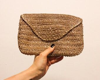 Vintage Gold Crochet Envelope Clutch