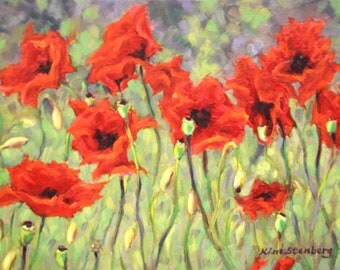 "Red Poppy Painting, Original Oil Painting, 12 x 16"", ""Passionate Poppies"" by Kim Stenberg, Rich Impressionisitc Art, Ready to Hang"