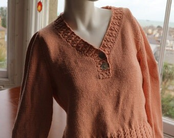 Rowan hand knitted peach cotton sweater S / M