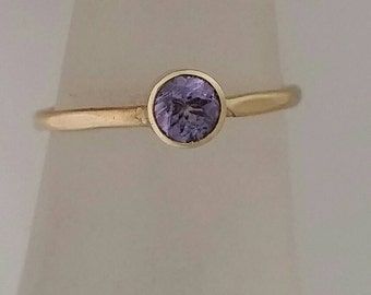 Tanzanite 14 K Solid Gold Ring, Thin Stacking Gold Ring, 14k Gold Ring, Promise Ring, Engagement Ring, Purity Ring, Gift for Her Wife