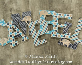 Turquoise, Gold and Navy Elephant Nursery Letters, Custom Wooden Letters, Custom Letters, Baby Girl Baby Boy Standing Letters -  7 Inch Size