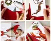 Mixed Set of Funny Christmas Cards, set of 8 includes two lobster cards, two fish cards, two narwhal cards, two seahorse cards