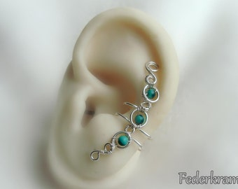 Green Malachite ear cuff silver plated, for left or right ear. nickel-free clip on, no piercing