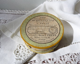 1930 Apothecary - French cardboard Box Throat Drop Lovely Shabby Chic French Vintage Pharmacy Box