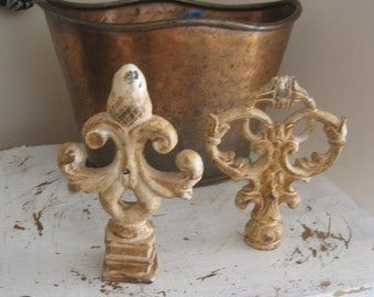 Grungy Ornate Shabby Chic Rusty Finials - Farmhouse Decor - Relic Iron Fleur de lIs