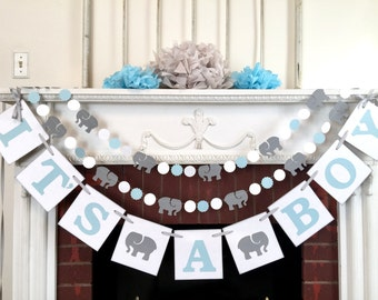 It's a Boy Elephant Garland / Elephant baby shower Decorations / Blue & Gray elephant Nursery Decoration - Gray elephant  / Custom colors