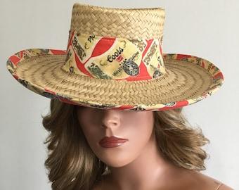 Coors Beer Hat Vintage Coors Hat 1970's Coors Hat Straw Coors Hat Straw Beach Hat Straw Sun Hat Wide Brim Sun Hat Novelity Sun Hat Size S