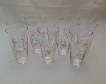 Vintage Set of 10 Delicate Drinking Glasses Etched and Hand painted Birds and Nest 12 oz Tumblers