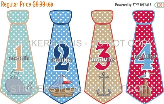 SALE Baby Boy Monthly Tie Stickers Necktie Neck Tie Stickers Ocean Nautical Whale Boat Anchor Seagull Dots 1-12 Months Gift Photo Prop