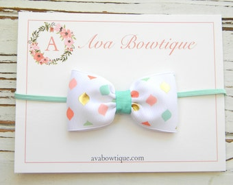 Baby Bow Headband - Newborn Bow Headband - Coral and Aqua Bow Headband