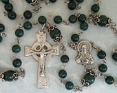 Rosary, Sacred Heart, Dark Green Mountain Jade, Celtic Crucifix, Strong, Stainless Steel, Traditional, Five Decade, Gemstone Rosary