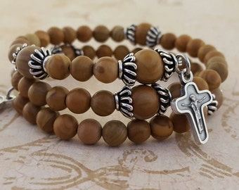 Rosary Bracelet, Tigerskin Jasper, Holy Spirit, Compassion Crucifix, Stainless Steel, Five Decade, Memory Wire, Handcrafted, Wrapped Rosary