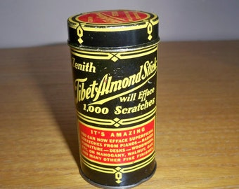 Vintage Zenith Tibet Almond Stick Tin Metal Advertising Can