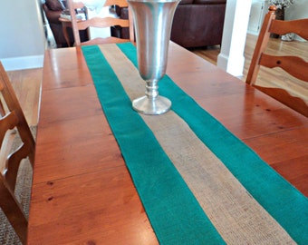Green and Natural Burlap Table Runner Striped Table Runner Green Table Runner Rustic Table Settings