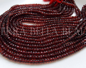 """6.5"""" half strand red AAA MOZAMBIQUE GARNET faceted gem stone rondelle beads 5mm"""