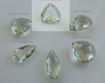 Per bead AAA GREEN AMETHYST faceted pan trillion briolette gem stone beads 15mm