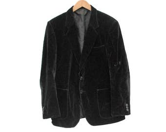 "Vintage Velvet Blazer Smoking Jacket - M 40"" (26143)"