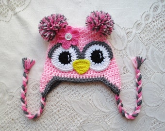 Shades of Pink and Grey Crochet Owl Hat - Photo Prop - Available in Any Size or Color Combination