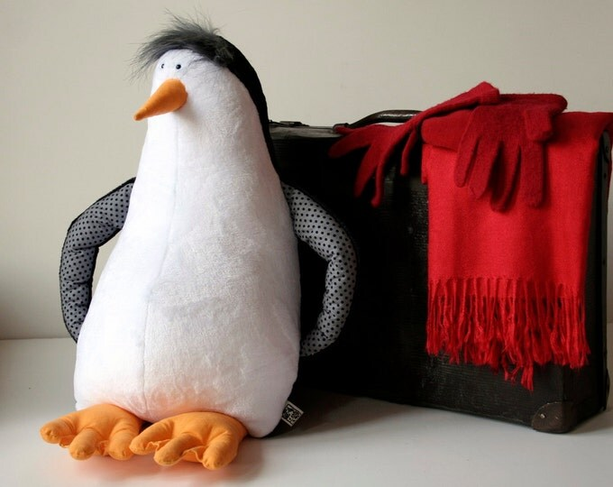 Penguin XXL Stuffed Antarctic Bird, Penguin Stuffie, Big Plush Cuddly Bird, Black&White Plushie