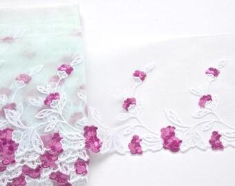 Celedon Fuchsia Flowered Lace Trim, Pale Aqua  and Pink Trim, Dolls, Mantillas, Lingerie, Costume, Lace Fashions; Lace Crafts