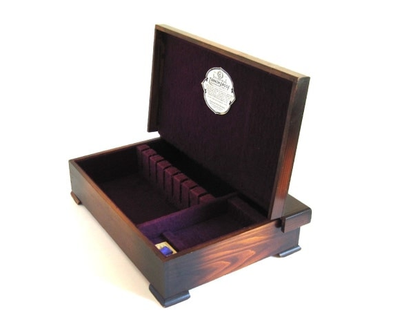 Solid wood flatware box silverseal wooden silverware storage for Box for flatware storage