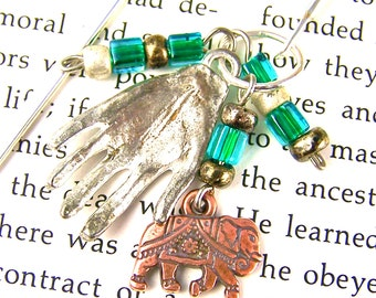 Bookmark - Silver and Copper Plated Pewter / Mixed Media Beads - Silver Plated Shepherds Hook Page Marker