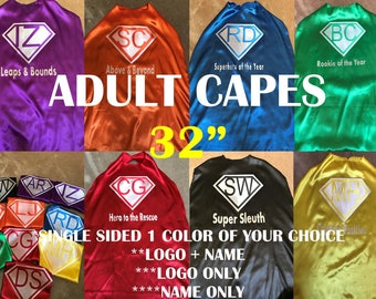 Custom Logo Teen / ADULT Size SUPERHERO CAPES Assorted colors You Pick or we do Business School Wedding Shower Bridal Party Pack Bundles