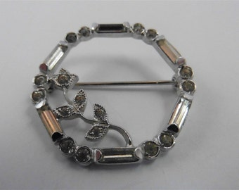 Vintage Sterling Silver Crystal Flower Pin / Brooch p1230412
