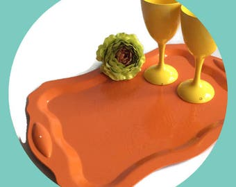 Up-cycled Orange serving tray,Retro wedding, Mothers Day, Vintage hammered aluminum Re-surfaced by BMC Vintage Design Studio FOOD SAFE