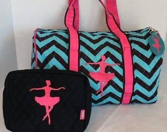Ballet Dance Bag and Makeup Pouch with Zipper Pull Embroidered Ballerina Tote