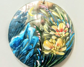 Hand Painted Flowers Pendant