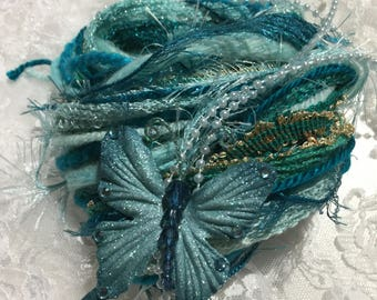 Novelty Yarn, Fiber Bundle, Teal, Embellishment Set, Mix Media, Journals, Scrapbooks