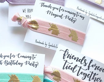 20 Unicorn Hair Tie Favors - Unicorn Party Favors - Gold Unicorn - Girls Birthday Favor - Magical Unicorn Party - Unicorn Thank you Gift