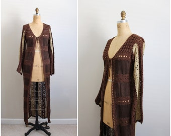 70s Bohemian Crochet Leather Maxi Vest / Boho Jacket / Hippie 1970s long vest / Size S/M