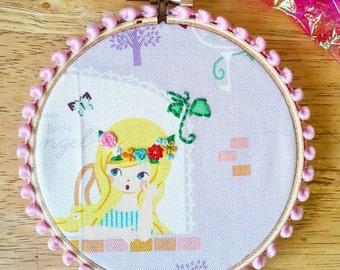 Rapunzel mini hoop, embroidered flowers, girls room wall decor, home decor, princess hoop, hand-embroidered, flower crown princess, 4 inches