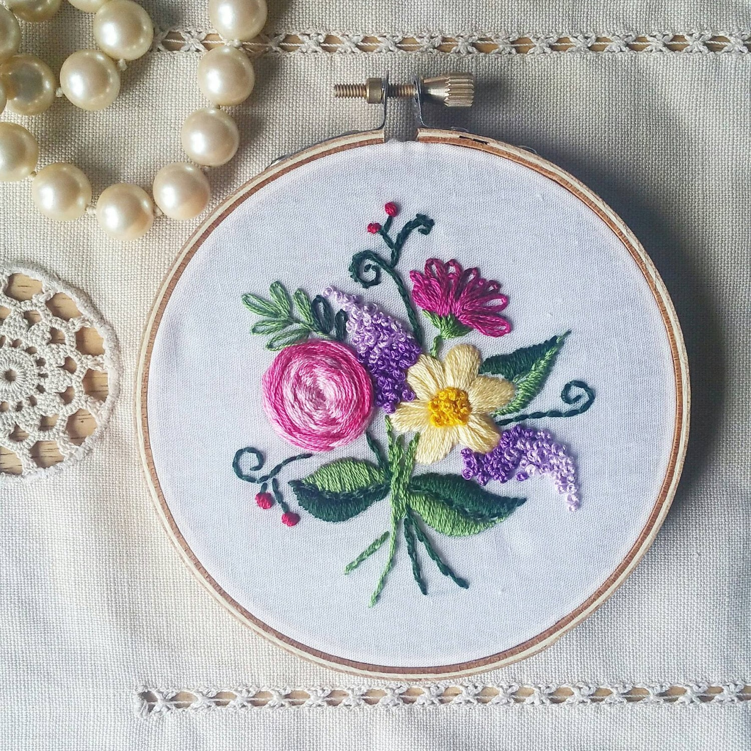 Flower bouquet embroidered hoop embroidery art