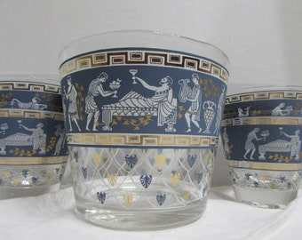 Vintage Cera Glass Roman Themed Glassware - Ice Bucket and Low ball glassware - Blue white and gold Cera Glassware