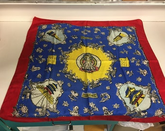 Stunning Vintage Ancient China Ladies Souvenir Scarf Bold Colors the Seven Gems