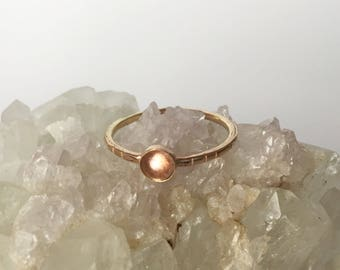peach oregon sunstone 14k solid gold ring, gemstone stacker, pacific northwest jewelry, iridescent glowing stone, pink engagement ring