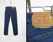 Vintage 70s Levi's 505 Jeans Indigo Denim Straight Leg Red Tab Made in USA - 30 x 31