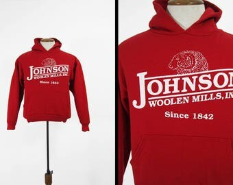 Vintage Johnson Woolen Mills Hoodie Red Pullover Sweatshirt Made in USA - Small