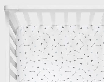 Arrow Crib Bedding, Triangles Crib Sheet, Changing Pad Cover, Gray White Nursery, Adventure Baby Bedding, Adventure Awaits Arrows Triangles